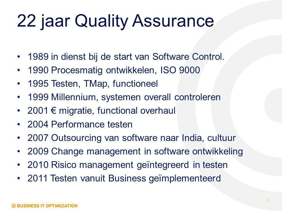 22 jaar Quality Assurance 1989 in dienst bij de start van Software Control. 1990 Procesmatig ontwikkelen, ISO 9000 1995 Testen, TMap, functioneel 1999