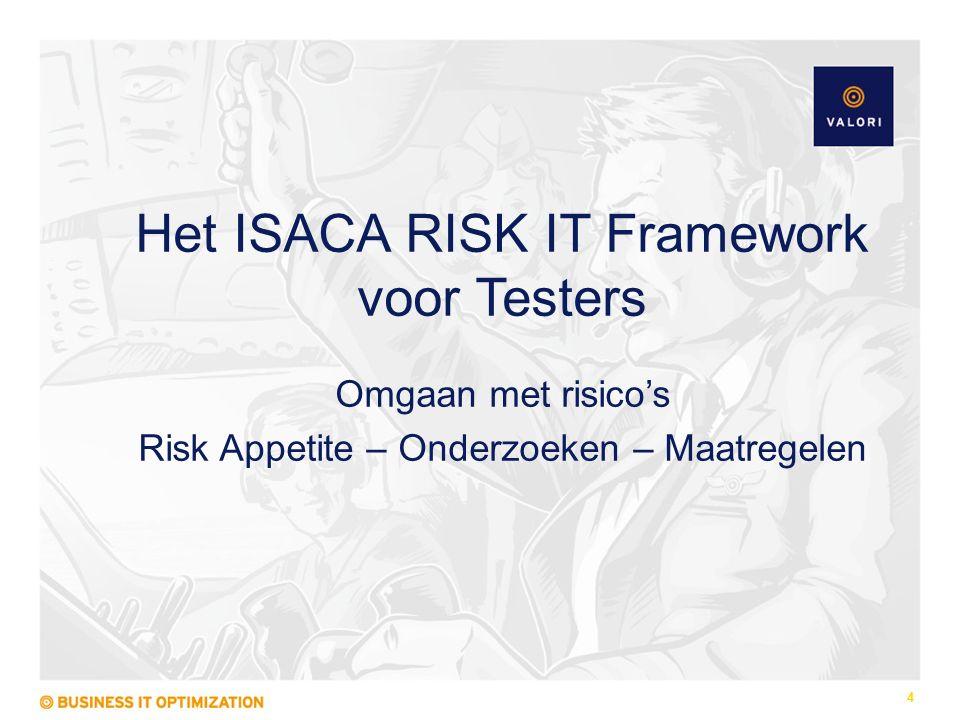 Het ISACA RISK IT Framework voor Testers Omgaan met risico's Risk Appetite – Onderzoeken – Maatregelen 4