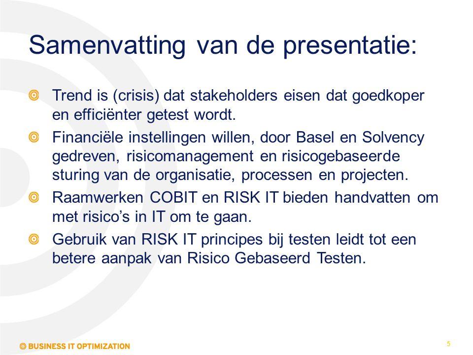 Samenvatting van de presentatie: Trend is (crisis) dat stakeholders eisen dat goedkoper en efficiënter getest wordt. Financiële instellingen willen, d