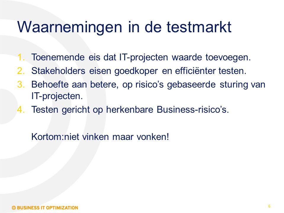Waarnemingen in de testmarkt 1.Toenemende eis dat IT-projecten waarde toevoegen. 2.Stakeholders eisen goedkoper en efficiënter testen. 3.Behoefte aan