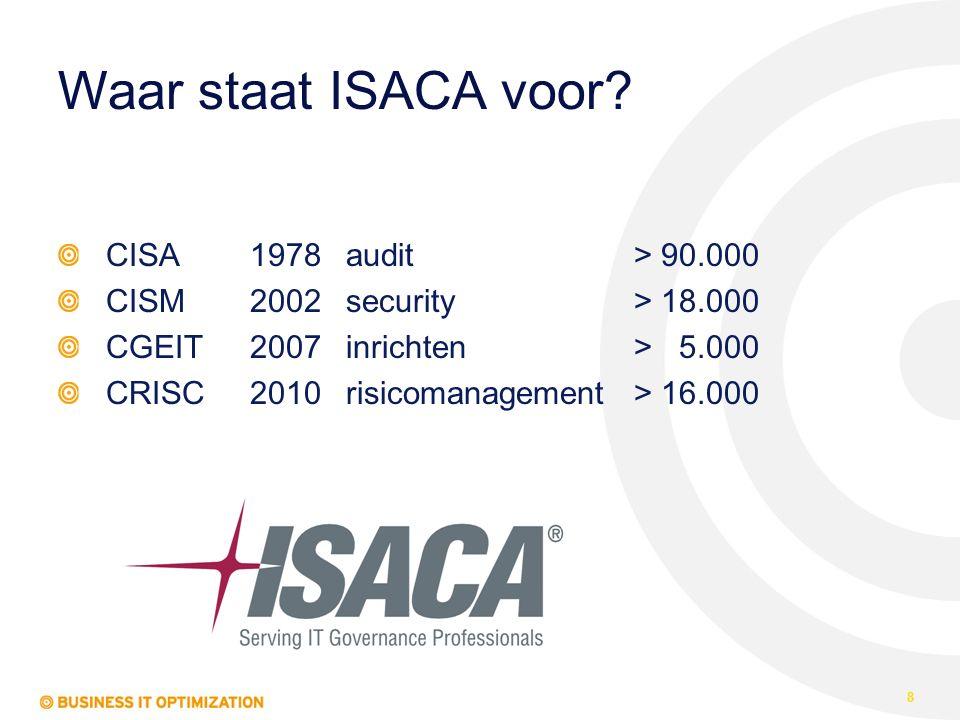 Waar staat ISACA voor? CISA1978audit> 90.000 CISM2002security> 18.000 CGEIT2007inrichten> 5.000 CRISC2010risicomanagement> 16.000 8