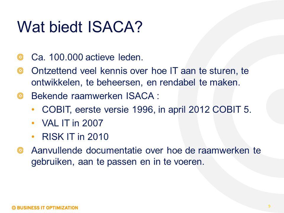 Wat biedt ISACA? Ca. 100.000 actieve leden. Ontzettend veel kennis over hoe IT aan te sturen, te ontwikkelen, te beheersen, en rendabel te maken. Beke