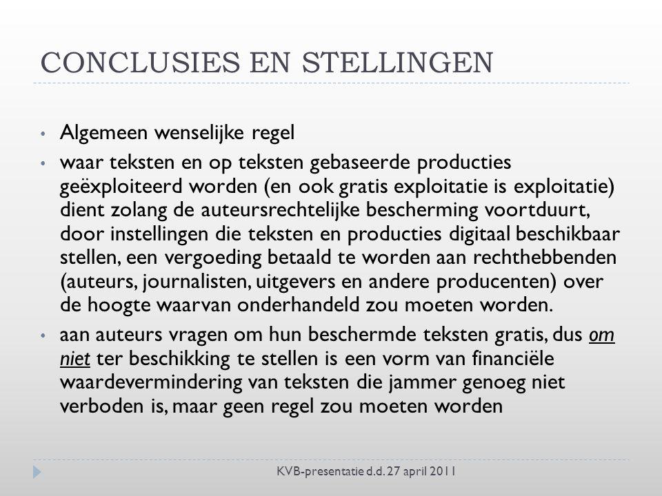 CONCLUSIES EN STELLINGEN KVB-presentatie d.d.