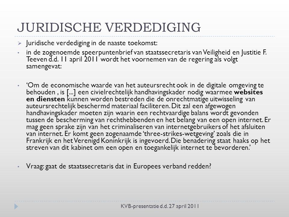 JURIDISCHE VERDEDIGING KVB-presentatie d.d.