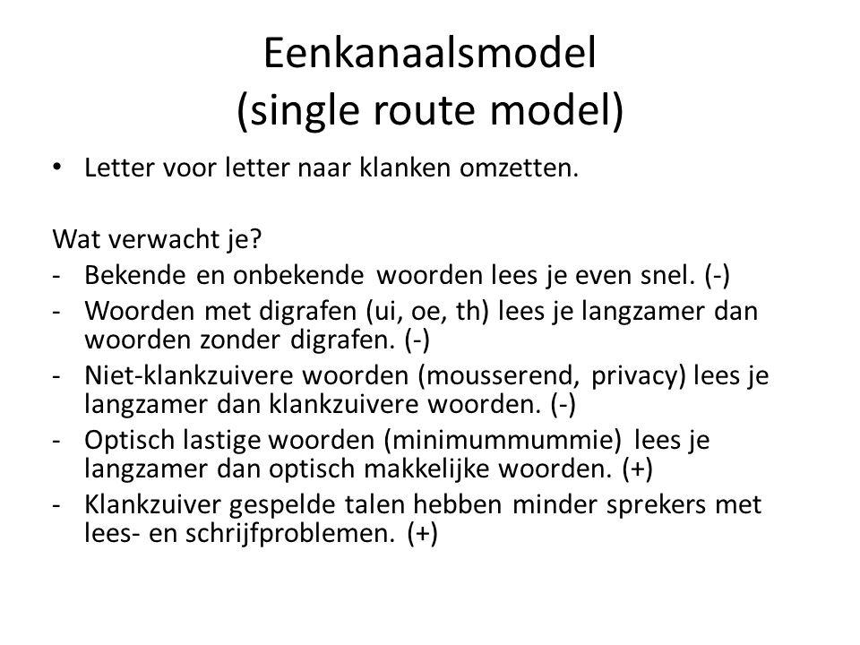 Tweekanaalsmodel (dual route model) Letter voor letter naar klank omzetten, en: Bekende woorden/woordgroepen meteen herkennen.
