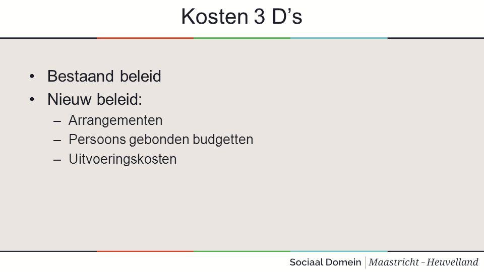 Kosten 3 D's Bestaand beleid Nieuw beleid: –Arrangementen –Persoons gebonden budgetten –Uitvoeringskosten