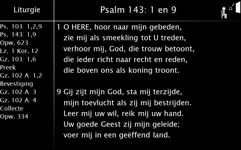 Liturgie Ps.103: 1,2,9 Ps.143: 1,9 Opw.623 Lz.1 Kor. 12 Gz.103: 1,6 Preek Gz.102 A: 1,2 Bevestiging Gz.102 A: 3 Gz.102 A: 4 Collecte Opw.334 Psalm 143