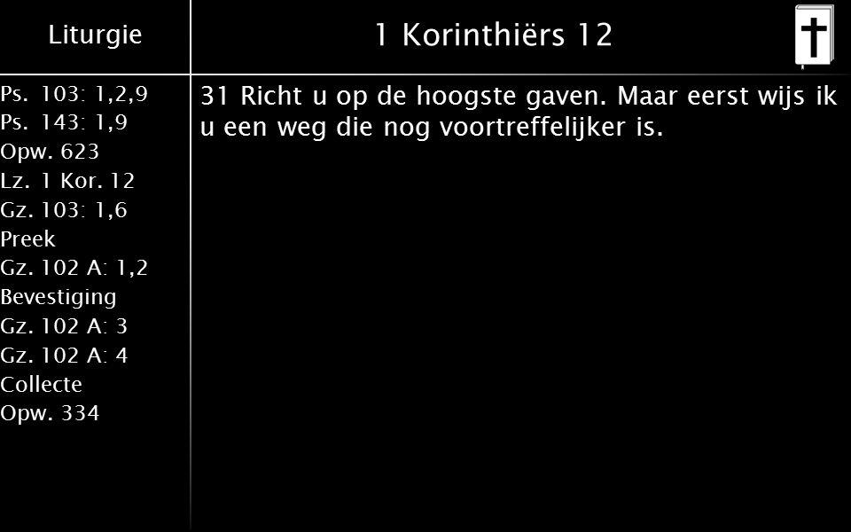 Liturgie Ps.103: 1,2,9 Ps.143: 1,9 Opw.623 Lz.1 Kor. 12 Gz.103: 1,6 Preek Gz.102 A: 1,2 Bevestiging Gz.102 A: 3 Gz.102 A: 4 Collecte Opw.334 1 Korinth