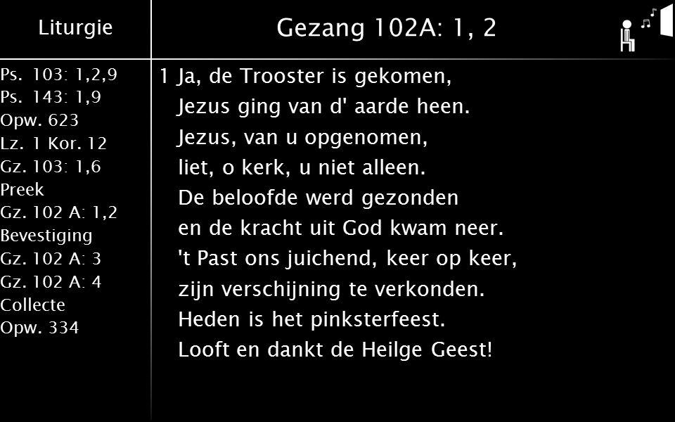 Liturgie Ps.103: 1,2,9 Ps.143: 1,9 Opw.623 Lz.1 Kor. 12 Gz.103: 1,6 Preek Gz.102 A: 1,2 Bevestiging Gz.102 A: 3 Gz.102 A: 4 Collecte Opw.334 Gezang 10