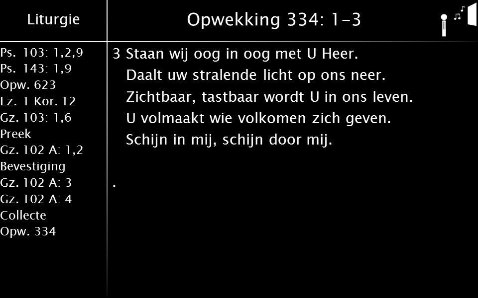 Liturgie Ps.103: 1,2,9 Ps.143: 1,9 Opw.623 Lz.1 Kor. 12 Gz.103: 1,6 Preek Gz.102 A: 1,2 Bevestiging Gz.102 A: 3 Gz.102 A: 4 Collecte Opw.334 Opwekking