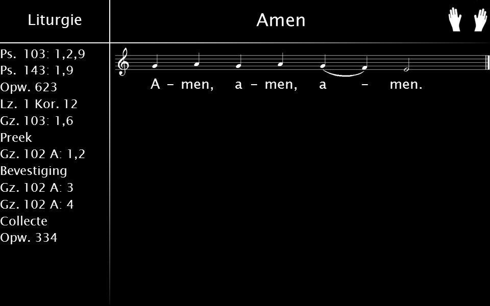 Liturgie Ps.103: 1,2,9 Ps.143: 1,9 Opw.623 Lz.1 Kor. 12 Gz.103: 1,6 Preek Gz.102 A: 1,2 Bevestiging Gz.102 A: 3 Gz.102 A: 4 Collecte Opw.334 Amen A-me