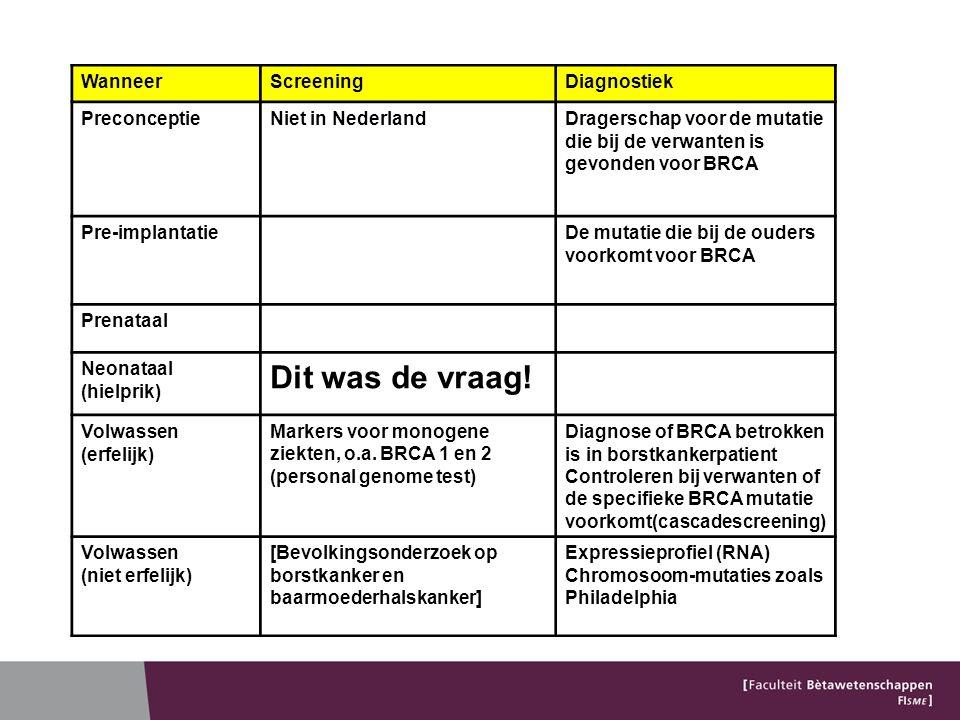 WanneerScreeningDiagnostiek PreconceptieNiet in NederlandDragerschap voor de mutatie die bij de verwanten is gevonden voor BRCA Pre-implantatieDe mutatie die bij de ouders voorkomt voor BRCA Prenataal Neonataal (hielprik) Dit was de vraag.