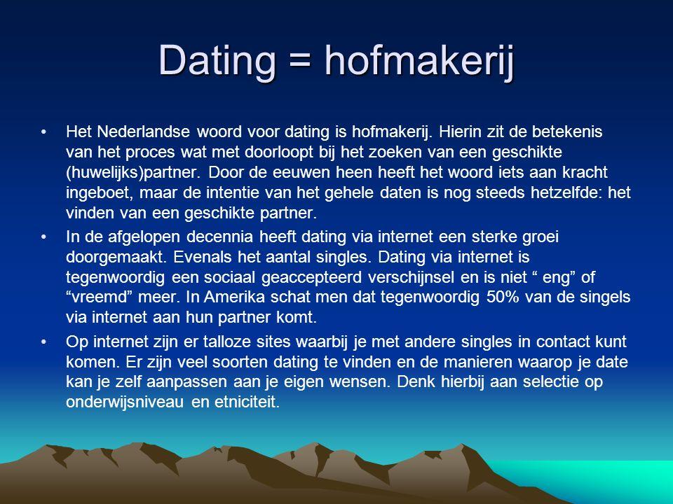 Dating = hofmakerij Het Nederlandse woord voor dating is hofmakerij. Hierin zit de betekenis van het proces wat met doorloopt bij het zoeken van een g