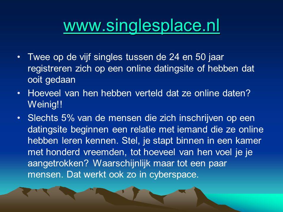 www.singlesplace.nl Twee op de vijf singles tussen de 24 en 50 jaar registreren zich op een online datingsite of hebben dat ooit gedaan Hoeveel van he