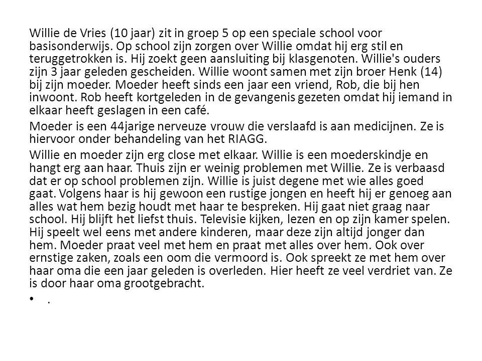 Willie de Vries (10 jaar) zit in groep 5 op een speciale school voor basisonderwijs. Op school zijn zorgen over Willie omdat hij erg stil en teruggetr