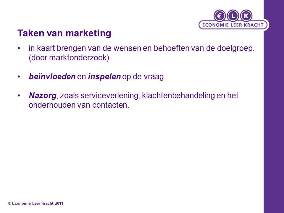 Taken van marketing in kaart brengen van de wensen en behoeften van de doelgroep.