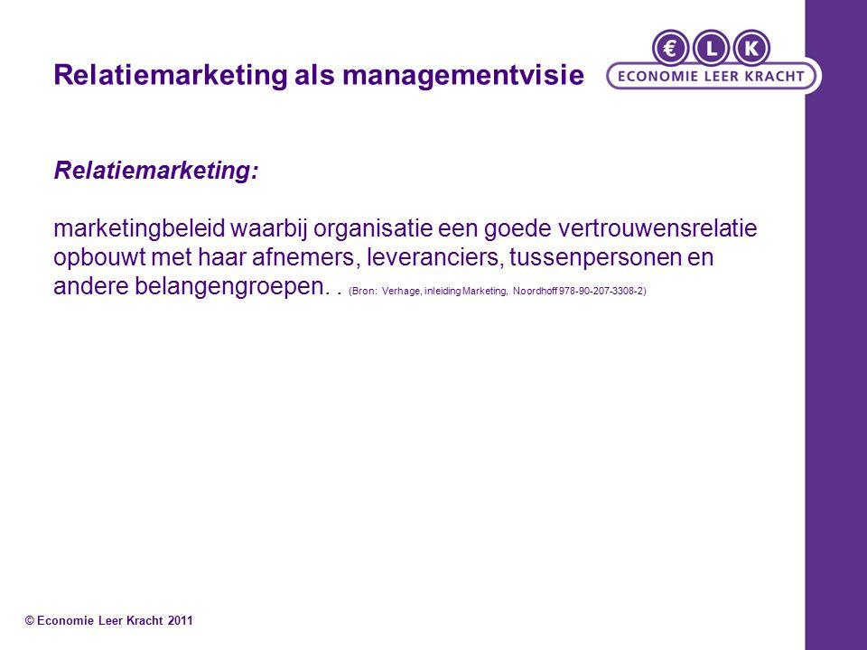 Relatiemarketing als managementvisie Relatiemarketing: marketingbeleid waarbij organisatie een goede vertrouwensrelatie opbouwt met haar afnemers, leveranciers, tussenpersonen en andere belangengroepen..