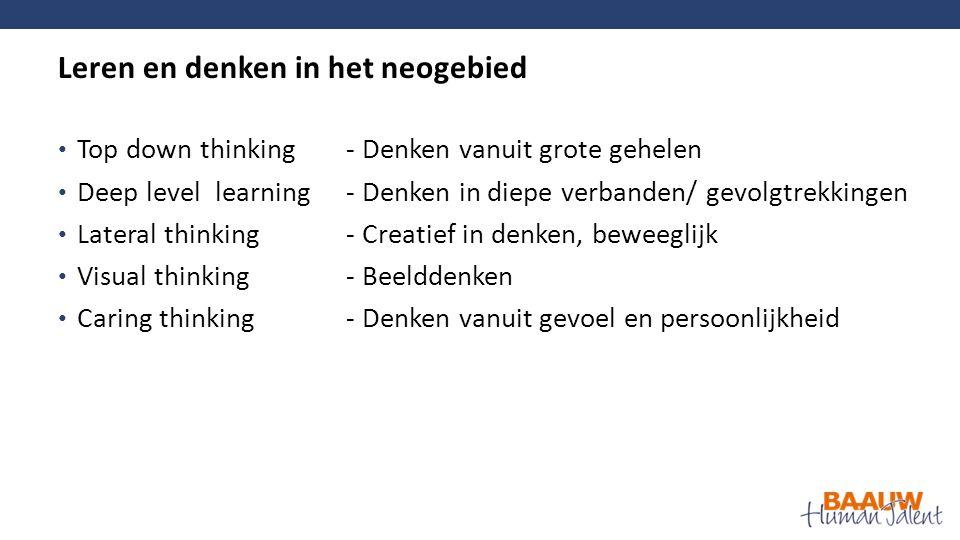 Top down thinking- Denken vanuit grote gehelen Deep level learning- Denken in diepe verbanden/ gevolgtrekkingen Lateral thinking- Creatief in denken, beweeglijk Visual thinking- Beelddenken Caring thinking- Denken vanuit gevoel en persoonlijkheid Leren en denken in het neogebied