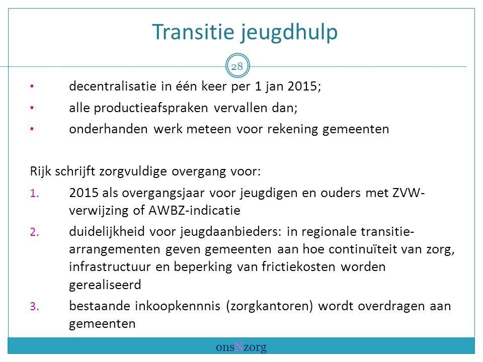 Transitie jeugdhulp decentralisatie in één keer per 1 jan 2015; alle productieafspraken vervallen dan; onderhanden werk meteen voor rekening gemeenten Rijk schrijft zorgvuldige overgang voor: 1.