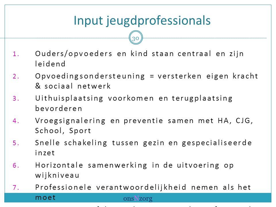 Input jeugdprofessionals 1. Ouders/opvoeders en kind staan centraal en zijn leidend 2.