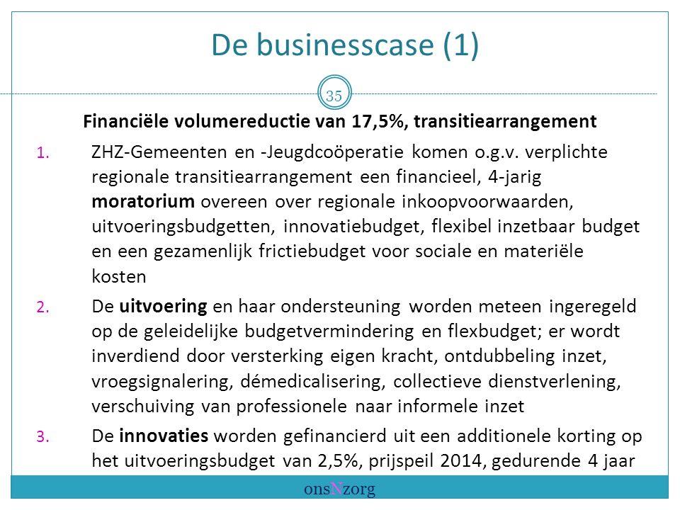 De businesscase (1) Financiële volumereductie van 17,5%, transitiearrangement 1.