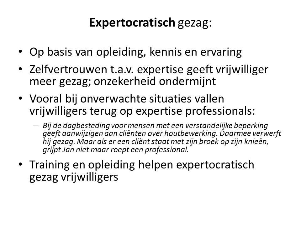 Expertocratisch gezag: Op basis van opleiding, kennis en ervaring Zelfvertrouwen t.a.v.