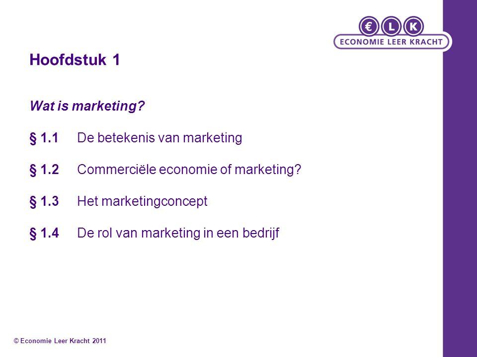Hoofdstuk 1 Wat is marketing? § 1.1De betekenis van marketing § 1.2Commerciële economie of marketing? § 1.3Het marketingconcept § 1.4 De rol van marke