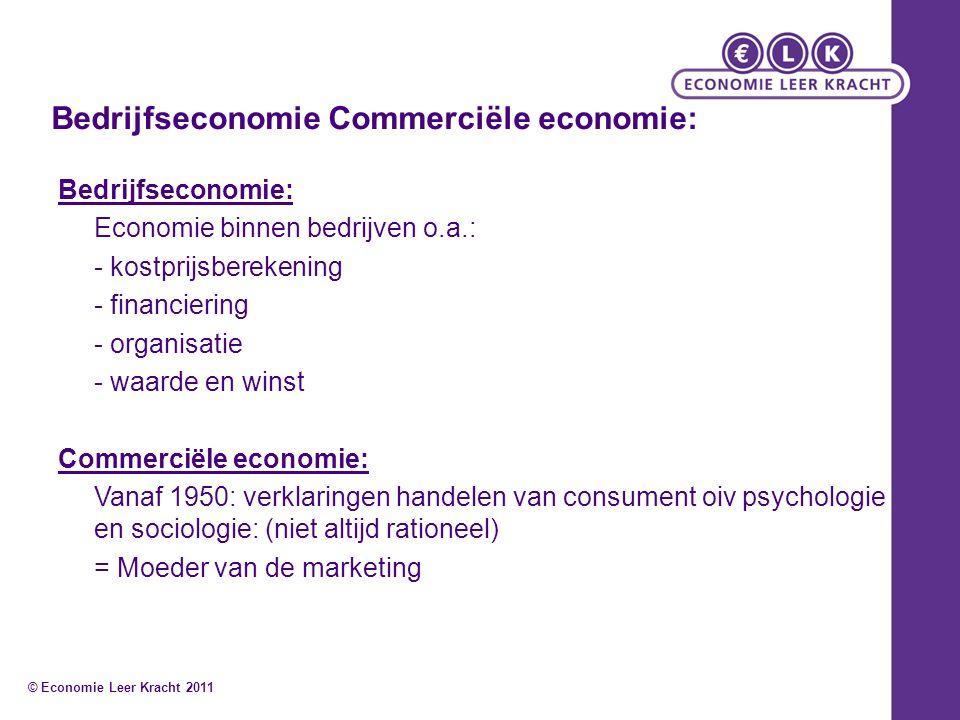 Bedrijfseconomie Commerciële economie: Bedrijfseconomie: Economie binnen bedrijven o.a.: - kostprijsberekening - financiering - organisatie - waarde e