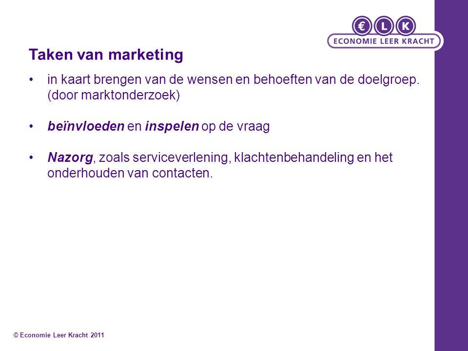 Taken van marketing in kaart brengen van de wensen en behoeften van de doelgroep. (door marktonderzoek) beïnvloeden en inspelen op de vraag Nazorg, zo