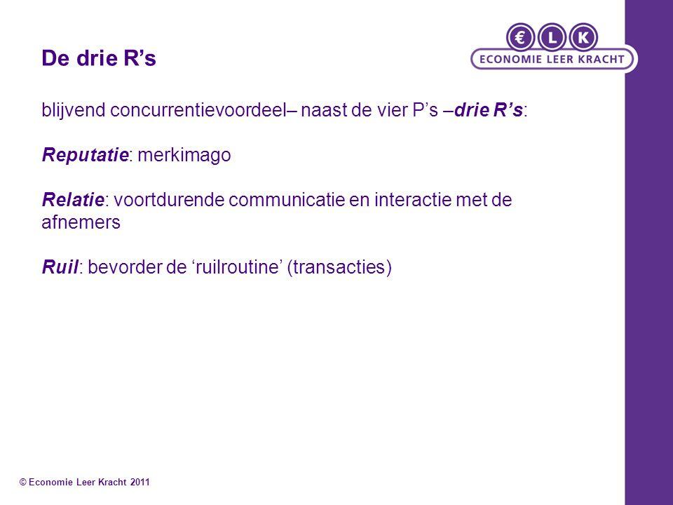 De drie R's blijvend concurrentievoordeel– naast de vier P's –drie R's: Reputatie: merkimago Relatie: voortdurende communicatie en interactie met de a