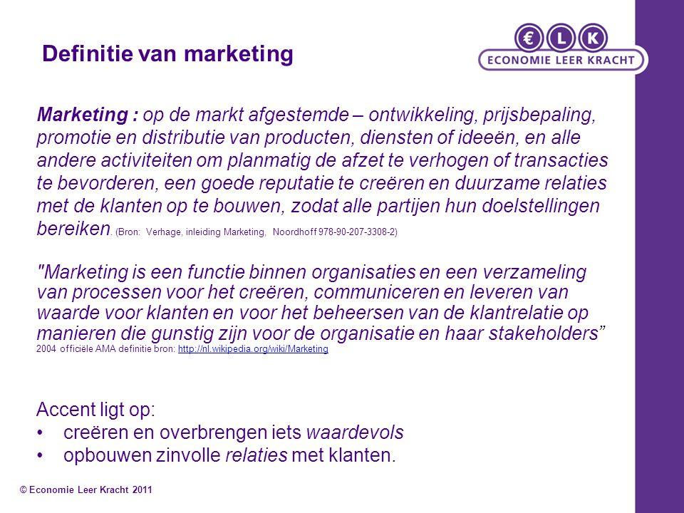 Definitie van marketing Marketing : op de markt afgestemde – ontwikkeling, prijsbepaling, promotie en distributie van producten, diensten of ideeën, e