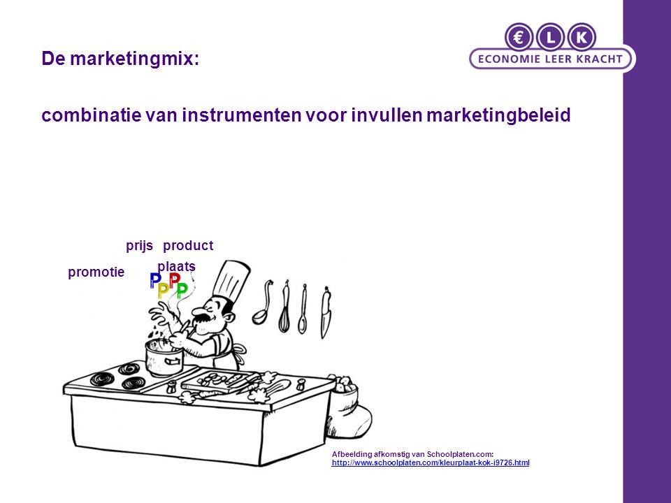 combinatie van instrumenten voor invullen marketingbeleid De marketingmix: prijsproduct promotie plaats Afbeelding afkomstig van Schoolplaten.com: htt