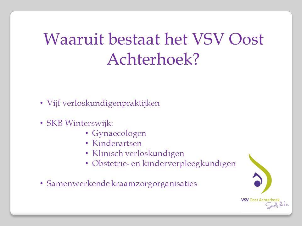 Waaruit bestaat het VSV Oost Achterhoek? Vijf verloskundigenpraktijken SKB Winterswijk: Gynaecologen Kinderartsen Klinisch verloskundigen Obstetrie- e