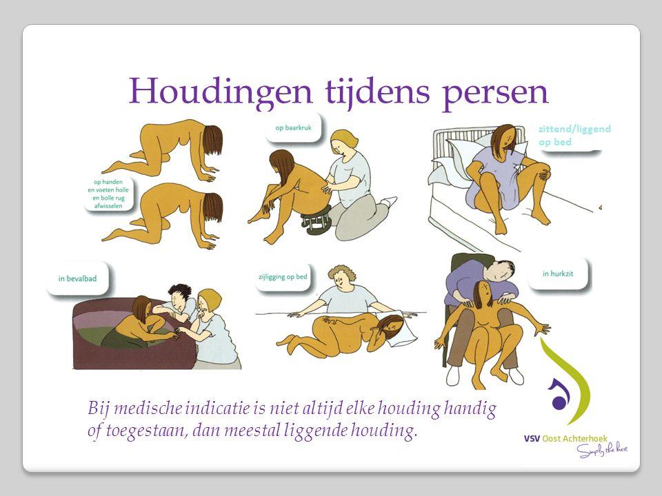 Houdingen tijdens persen Bij medische indicatie is niet altijd elke houding handig of toegestaan, dan meestal liggende houding.