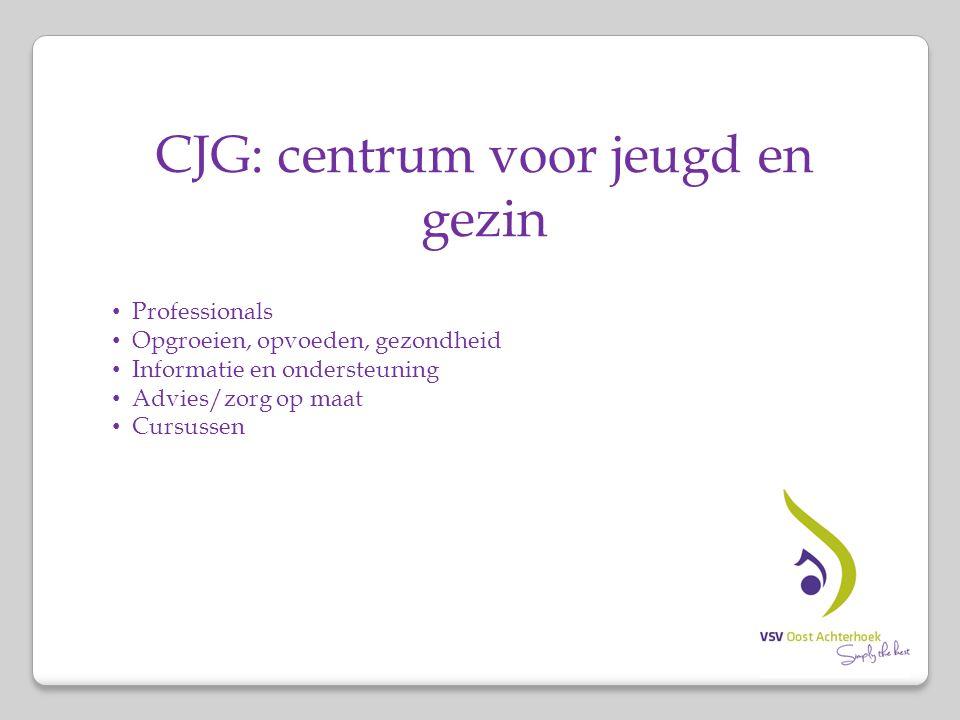 CJG: centrum voor jeugd en gezin Professionals Opgroeien, opvoeden, gezondheid Informatie en ondersteuning Advies/zorg op maat Cursussen