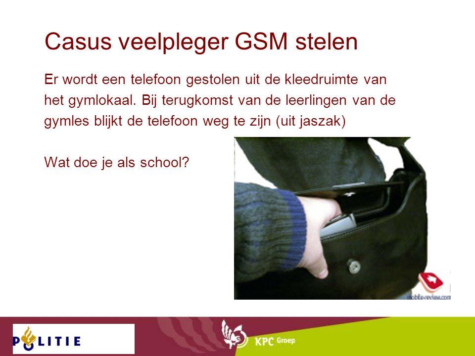 Casus veelpleger GSM stelen Er wordt een telefoon gestolen uit de kleedruimte van het gymlokaal. Bij terugkomst van de leerlingen van de gymles blijkt