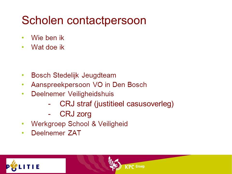 Scholen contactpersoon Wie ben ik Wat doe ik Bosch Stedelijk Jeugdteam Aanspreekpersoon VO in Den Bosch Deelnemer Veiligheidshuis -CRJ straf (justitieel casusoverleg) -CRJ zorg Werkgroep School & Veiligheid Deelnemer ZAT