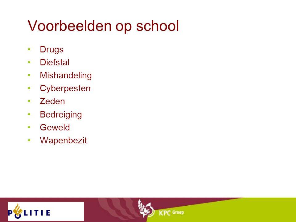 Voorbeelden op school Drugs Diefstal Mishandeling Cyberpesten Zeden Bedreiging Geweld Wapenbezit