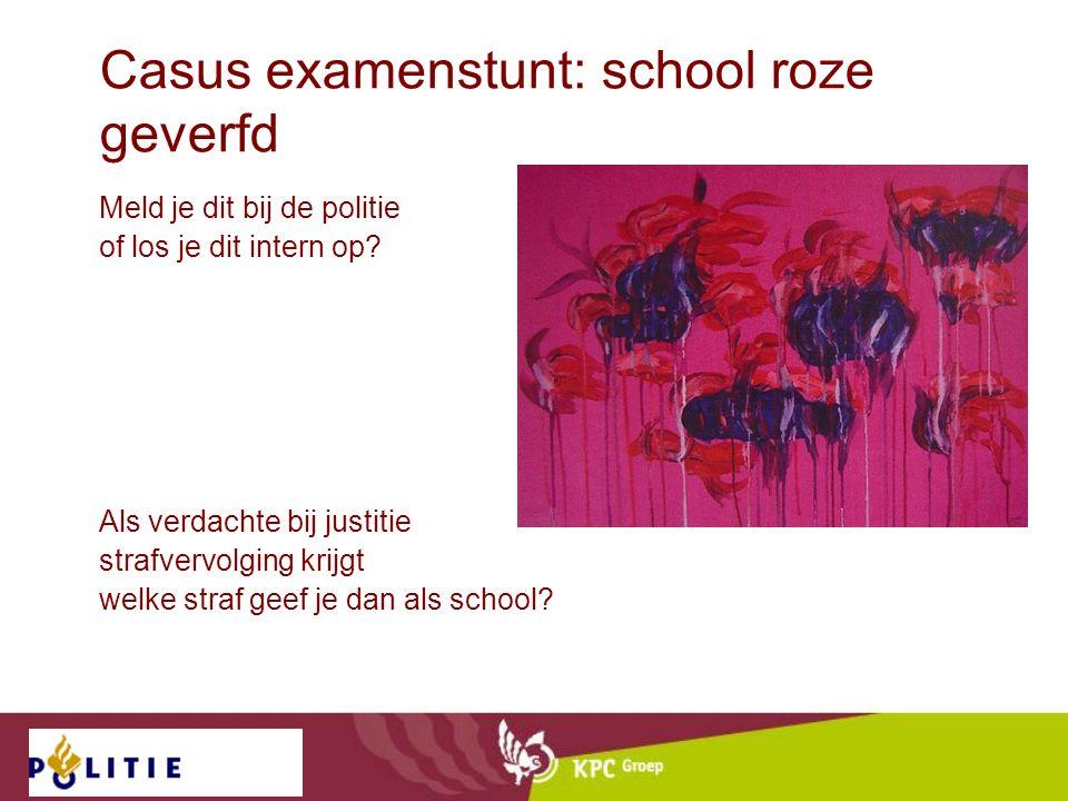 Casus examenstunt: school roze geverfd Meld je dit bij de politie of los je dit intern op? Als verdachte bij justitie strafvervolging krijgt welke str