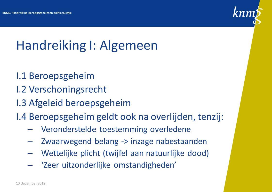 13 december 2012 Handreiking I: Algemeen I.1 Beroepsgeheim I.2 Verschoningsrecht I.3 Afgeleid beroepsgeheim I.4 Beroepsgeheim geldt ook na overlijden,