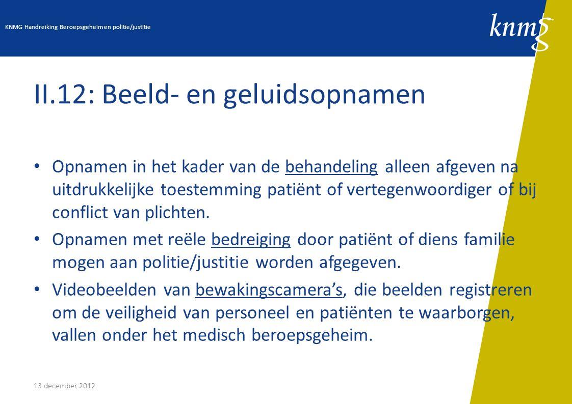 13 december 2012 II.12: Beeld- en geluidsopnamen Opnamen in het kader van de behandeling alleen afgeven na uitdrukkelijke toestemming patiënt of verte