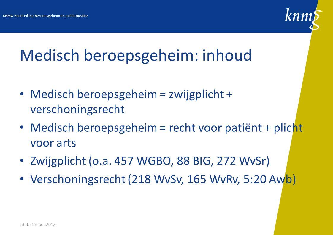 13 december 2012 Medisch beroepsgeheim: inhoud Medisch beroepsgeheim = zwijgplicht + verschoningsrecht Medisch beroepsgeheim = recht voor patiënt + pl