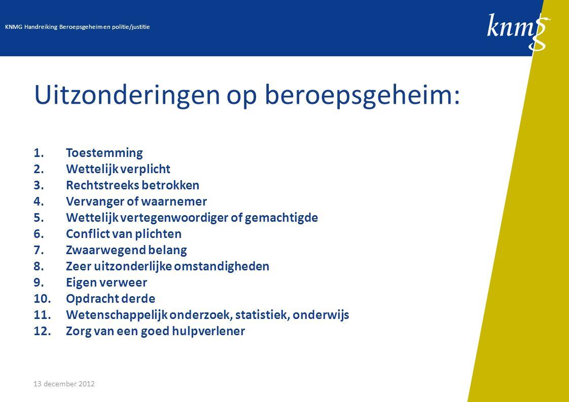 13 december 2012 II.16: Forensisch arts Voor hulpverleners in de curatieve zorg gelden de gewone regels van het beroepsgeheim.