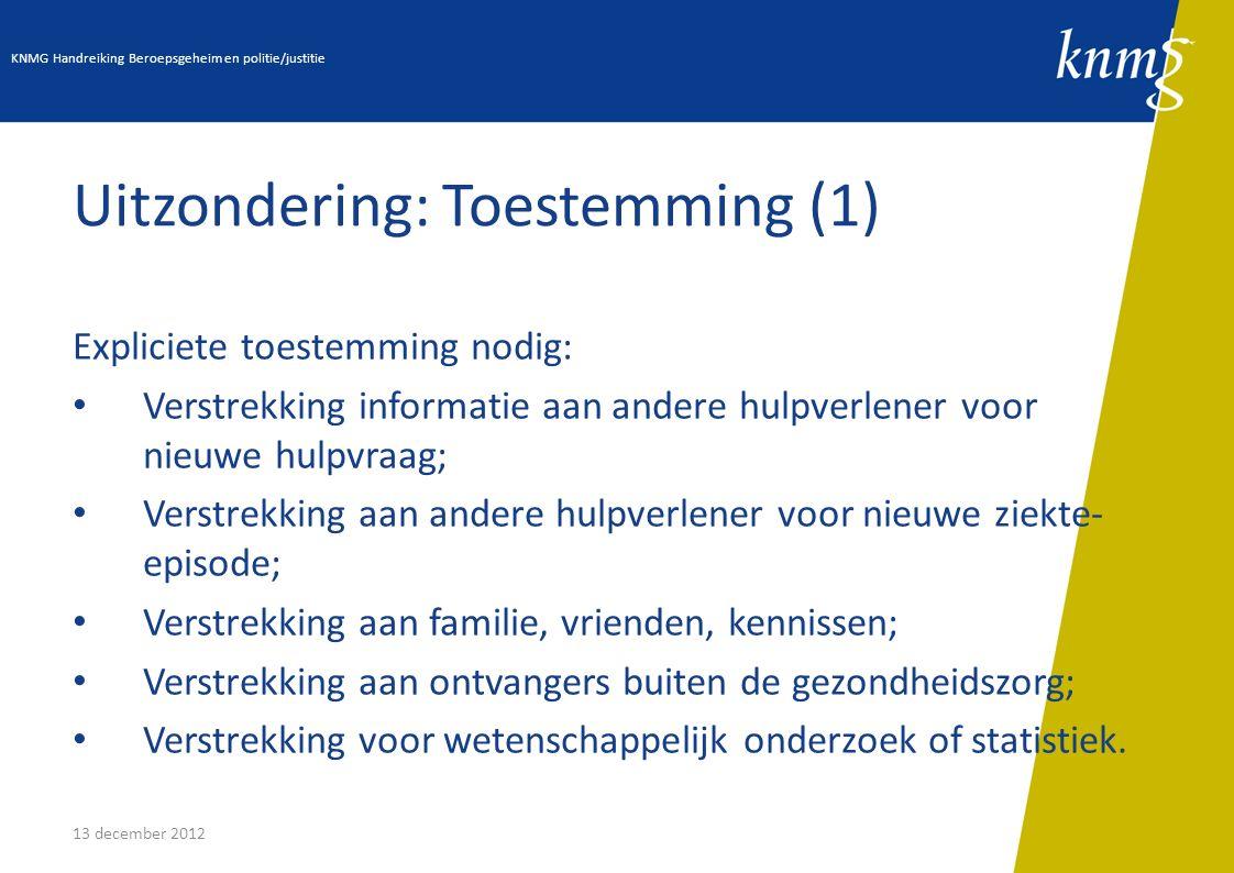 13 december 2012 Uitzondering: Toestemming (1) Expliciete toestemming nodig: Verstrekking informatie aan andere hulpverlener voor nieuwe hulpvraag; Ve