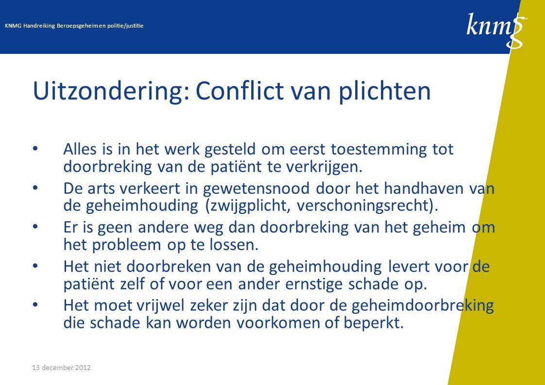 13 december 2012 Uitzondering: Conflict van plichten Alles is in het werk gesteld om eerst toestemming tot doorbreking van de patiënt te verkrijgen. D