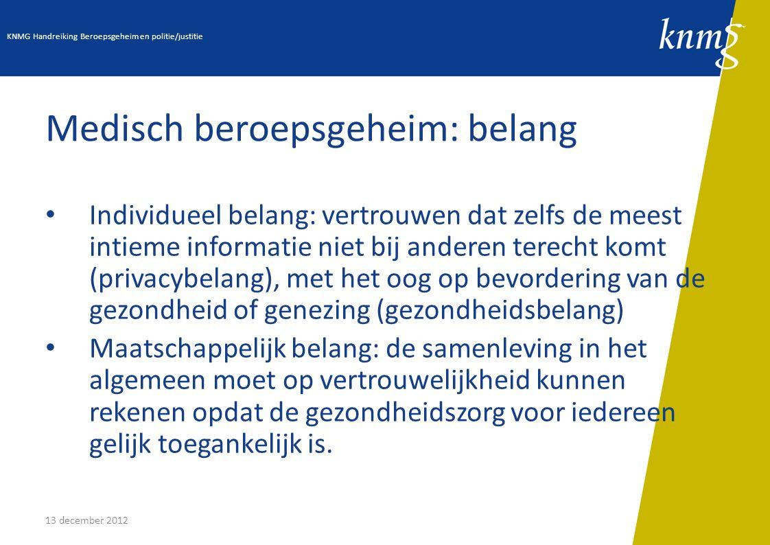 13 december 2012 Medisch beroepsgeheim: belang Individueel belang: vertrouwen dat zelfs de meest intieme informatie niet bij anderen terecht komt (pri