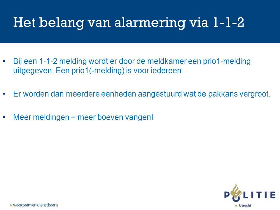 Het belang van alarmering via 1-1-2 Bij een 1-1-2 melding wordt er door de meldkamer een prio1-melding uitgegeven.