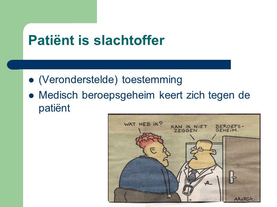 Patiënt is slachtoffer (Veronderstelde) toestemming Medisch beroepsgeheim keert zich tegen de patiënt
