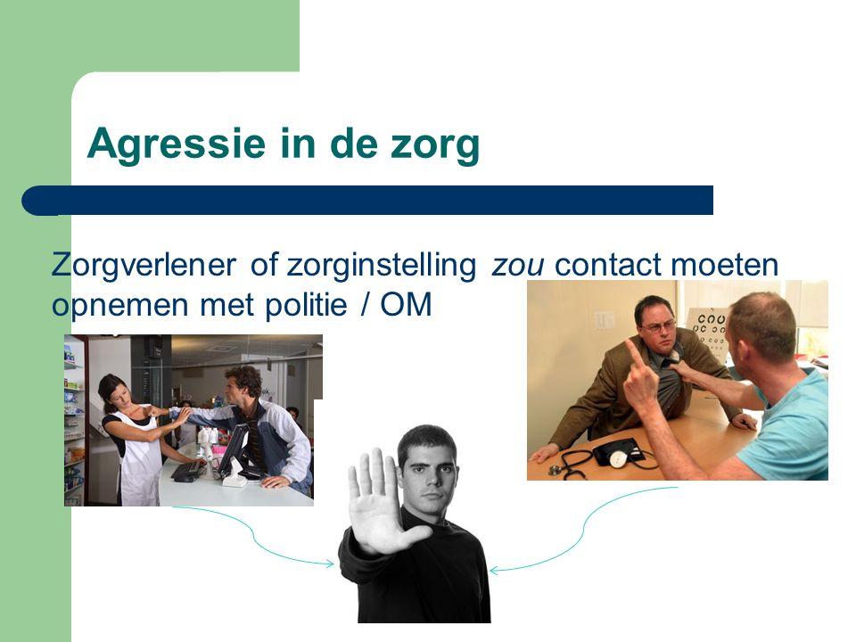Agressie in de zorg Zorgverlener of zorginstelling zou contact moeten opnemen met politie / OM