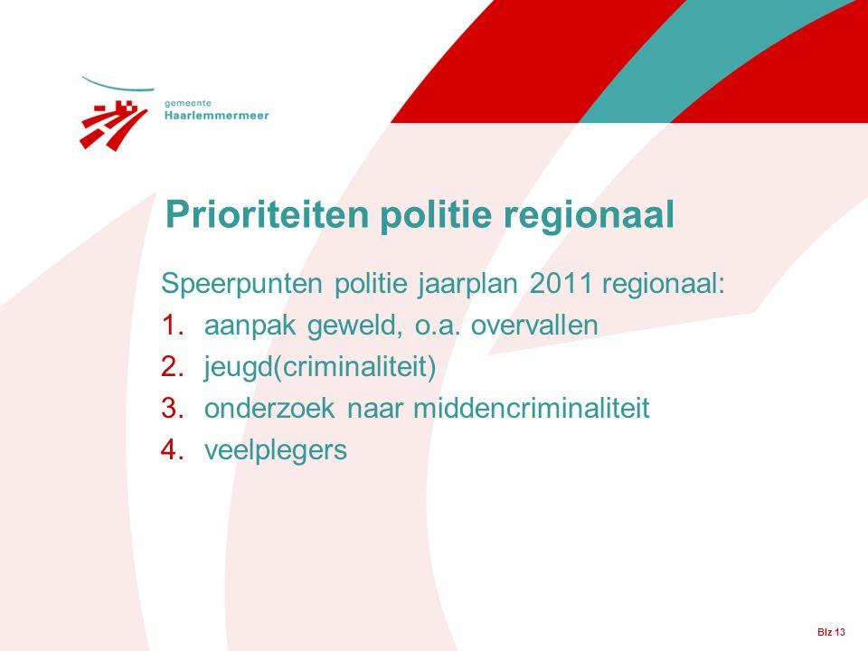 Blz 13 Prioriteiten politie regionaal Speerpunten politie jaarplan 2011 regionaal: 1.aanpak geweld, o.a.